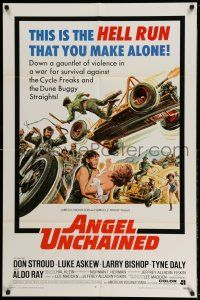 1f028 ANGEL UNCHAINED int'l 1sh '70 AIP, bikers & hippies, the hell run that you make alone!