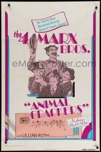 1f029 ANIMAL CRACKERS 1sh R74 wacky artwork of all four Marx Brothers!