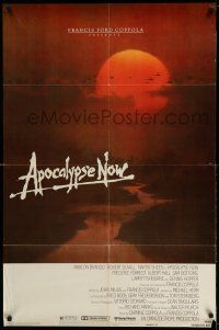 1f034 APOCALYPSE NOW advance 1sh '79 Francis Ford Coppola, classic Bob Peak art choppers over river