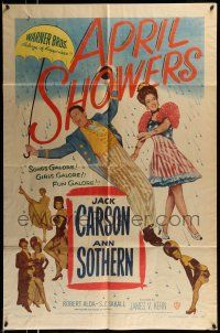 1f036 APRIL SHOWERS 1sh '48 colorful art of Jack Carson & Ann Sothern in musical!