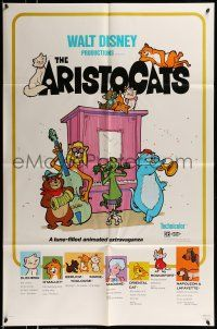 1f038 ARISTOCATS 1sh R80 Walt Disney feline jazz musical cartoon, great colorful artwork!