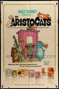 1f037 ARISTOCATS 1sh '71 Walt Disney feline jazz musical cartoon, great colorful art!