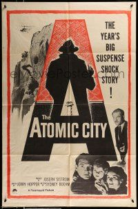 1f041 ATOMIC CITY 1sh '52 Cold War nuclear scientist Gene Barry in the big suspense shock story!