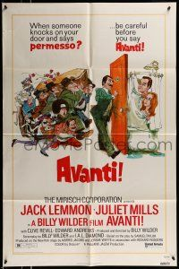 1f042 AVANTI 1sh '72 Billy Wilder, wacky art of Jack Lemmon & cast by Sandy Kossin!