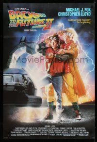 1f045 BACK TO THE FUTURE II 1sh '89 art of Michael J. Fox & Christopher Lloyd by Drew Struzan!