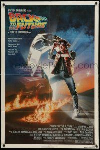 1f044 BACK TO THE FUTURE 1sh '85 Robert Zemeckis, art of Michael J. Fox & Delorean by Drew Struzan