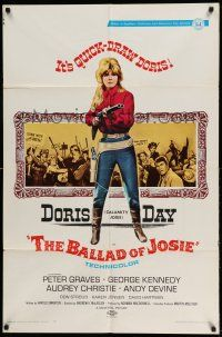 1f048 BALLAD OF JOSIE 1sh '68 cool full-length art of quick-draw Doris Day pointing shotgun!