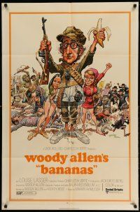 1f049 BANANAS 1sh '71 great artwork of Woody Allen by E.C. Comics artist Jack Davis!