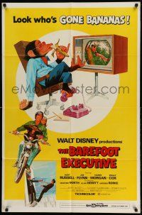 1f053 BAREFOOT EXECUTIVE 1sh '71 Disney, art of Kurt Russell & wacky chimp gone bananas!