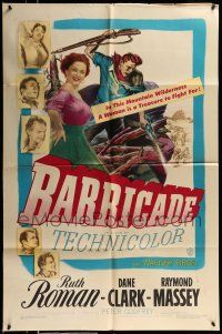 1f056 BARRICADE 1sh '50 Jack London, Ruth Roman is a treasure to fight for!