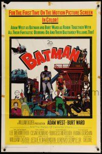 1f057 BATMAN 1sh '66 heroes Adam West & Burt Ward w/ villains Meriwether, Romero, Meredith & Gorshin