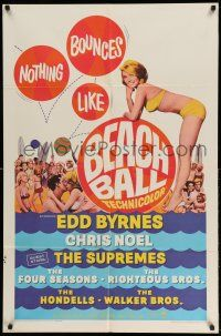 1f059 BEACH BALL 1sh '65 Edd Byrnes, The Supremes, sexy blonde Chris Noel in bikini!