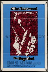 1f063 BEGUILED 1sh '71 cool psychedelic art of Clint Eastwood & Geraldine Page, Don Siegel