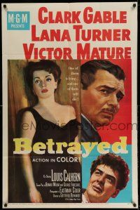 1f067 BETRAYED 1sh '54 art of Clark Gable, Victor Mature & sexy brunette Lana Turner!