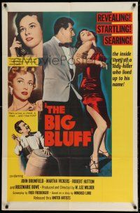 1f071 BIG BLUFF 1sh '55 cruel, cunning, charming, he used every trick on every girl!