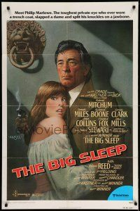 1f076 BIG SLEEP 1sh '78 art of Robert Mitchum & sexy Candy Clark by Richard Amsel!