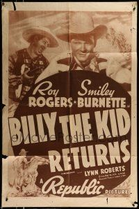 1f080 BILLY THE KID RETURNS 1sh R48 Roy Rogers, Trigger, Smiley Burnette!