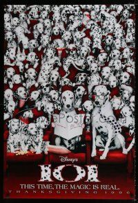 1k002 101 DALMATIANS teaser DS 1sh '96 Walt Disney live action, wacky image of dogs in theater!