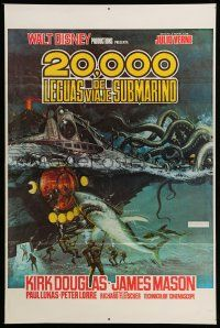 1k007 20,000 LEAGUES UNDER THE SEA Spanish/U.S. export 1sh R70s art of Jules Verne's deep sea divers!