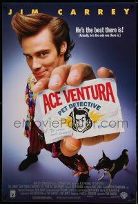 1k018 ACE VENTURA PET DETECTIVE 1sh '94 Jim Carrey tries to find Miami Dolphins mascot!