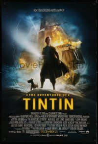 1k025 ADVENTURES OF TINTIN advance DS 1sh '11 Steven Spielberg's version of the Belgian comic!