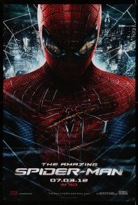 1k038 AMAZING SPIDER-MAN teaser DS 1sh '12 portrait of Andrew Garfield in title role over city!