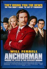 1k047 ANCHORMAN DS 1sh '04 The Legend of Ron Burgundy, image of newscaster Will Ferrell!