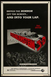 1k048 ANDY WARHOL'S FRANKENSTEIN 1sh R80s cool 3D art of near-naked girl coming off screen!