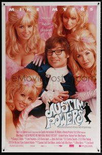 1k058 AUSTIN POWERS: INT'L MAN OF MYSTERY style B 1sh '97 spy Mike Myers & sexy fembots!