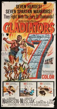 1r788 GLADIATORS SEVEN 3sh '63 art of 7 Spartan warriors who fight with the fury of thousands!