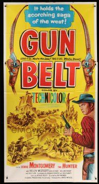1r792 GUN BELT 3sh '53 art of cowboy George Montgomery, it holds the scorching saga of the West!