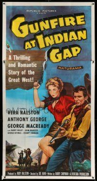 1r793 GUNFIRE AT INDIAN GAP 3sh '57 sexy cowgirl Vera Ralston & Anthony George with smoking guns!