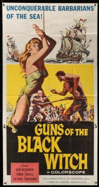 1r795 GUNS OF THE BLACK WITCH 3sh '61 super sexy art, unconquerable barbarians of the sea!