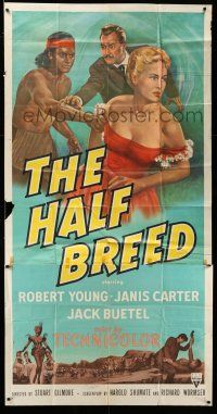 1r797 HALF-BREED 3sh '52 art of Robert Young, Janis Carter & Native American Jack Buetel!