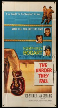 1r799 HARDER THEY FALL 3sh '56 Humphrey Bogart, Rod Steiger, boxing classic, cool artwork!
