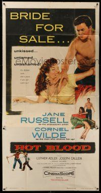 1r808 HOT BLOOD 3sh '56 great image of barechested Cornel Wilde grabbing Jane Russell, Nicholas Ray