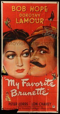 1r852 MY FAVORITE BRUNETTE 3sh '47 art of wacky mustached Bob Hope & sexy Dorothy Lamour!