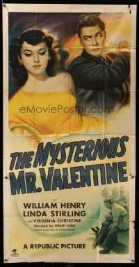 1r854 MYSTERIOUS MR. VALENTINE 3sh '46 William Henry hoists pretty Linda Sterling in the air!