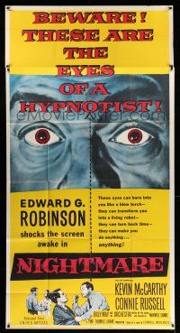 1r855 NIGHTMARE 3sh '56 cool art of Edward G. Robinson, from the Cornel Woolrich novel!