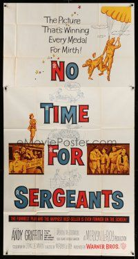 1r856 NO TIME FOR SERGEANTS 3sh '58 Andy Griffith, wacky Air Force paratrooper artwork!
