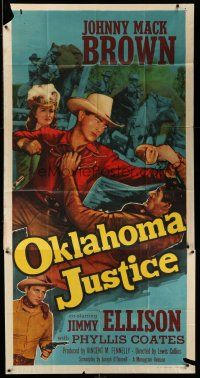 1r859 OKLAHOMA JUSTICE 3sh '51 Johnny Mack Brown, Phyllis Coates, cowboy western art!