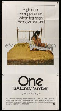 1r861 ONE IS A LONELY NUMBER 3sh '72 Trish Van Devere in nightie in bed alone!