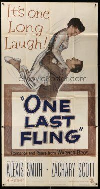 1r862 ONE LAST FLING 3sh '49 laughing Zachary Scott hoists beautiful Alexis Smith in the air!
