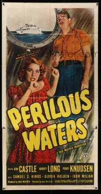 1r870 PERILOUS WATERS 3sh '48 full image of Don Castle with gun & scared Audrey Long on ship!