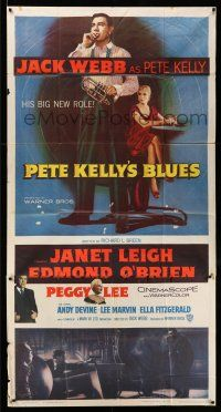 1r871 PETE KELLY'S BLUES 3sh '55 Jack Webb smoking & holding trumpet, sexy Janet Leigh!