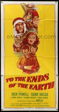 1r959 TO THE ENDS OF THE EARTH 3sh R56 drugs, different montage art with Dick Powell & top cast!
