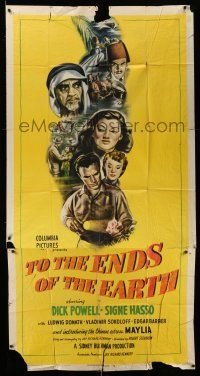 1r958 TO THE ENDS OF THE EARTH 3sh '47 drug smuggling, cool montage art with Dick Powell & cast!