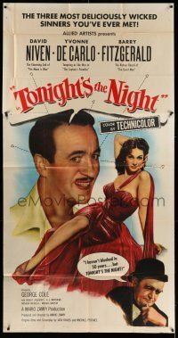 1r961 TONIGHT'S THE NIGHT 3sh '54 David Niven, sexy full-length Yvonne De Carlo, Barry Fitzgerald