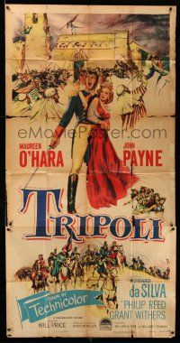 1r965 TRIPOLI 3sh '50 art of Maureen O'Hara & soldier John Payne at war in Africa!