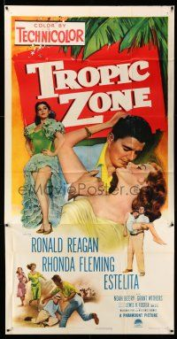 1r966 TROPIC ZONE 3sh '53 art of Ronald Reagan romancing Rhonda Fleming + sexy Estelita!